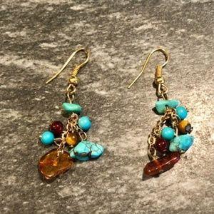 Sundance Catalog Turquoise Wire Earrings